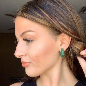 Vintage Jewelry - Jade color lucite small hoop earrings
